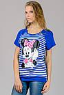 Женская футболка реглан полоска Mause (синяя полоска), фото 2