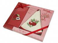 Подарочный набор кухонных полотенец в коробке Marisol Cotton из 2-х вафельных полотенец - 50*70 и 50*50 кругло