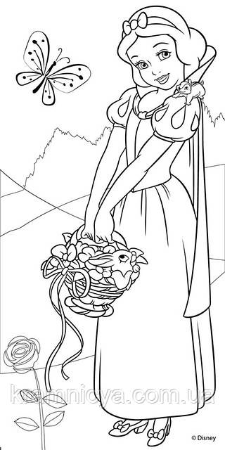 Холст с контуром 'Белоснежка-1' (15см*30см) с красками и глитером