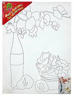 Холст с контуром 'Орхидея в вазе' (30см*40см)