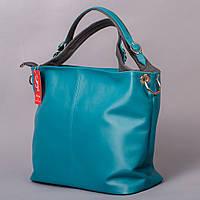 Бирюзовая сумка мешок большая мягкая 1356blue