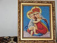 """Икона вышитая бисером """"Мадонна с младенцем"""""""