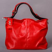 Красная сумка-мешок женская матовая большая