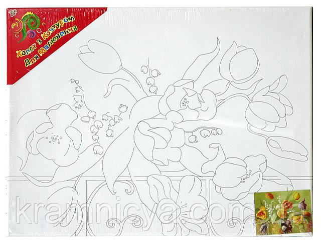 Холст с контуром 'Тюльпаны' (30см*40см)