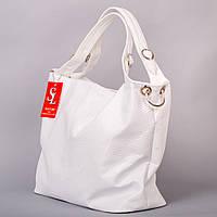 Большая белая сумка-мешок лаковый питон