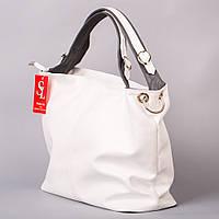 Белая сумка-мешок женская большая мягкая 1356wg