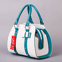 Белая каркасная сумочка с бирюзовыми вставками