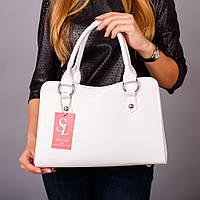 Белая лаковая сумка женская трапеция №1350wr