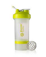Шейкер бутылка BLENDERBOTTLE ProStak 650ml 3в1 прозрачный-салатовый, фото 1
