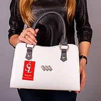Белая сумка женская трапеция серые вставки №1350wg