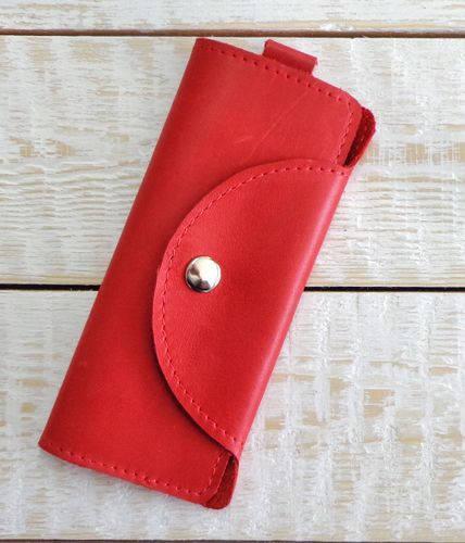 Аккуратная ключница из натуральной кожи GBAGS A.0002-ALI красный