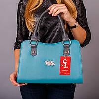 Бирюзовая фигурная трапеция модная сумка №1350blue