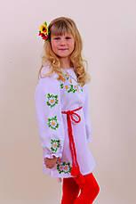 Вышитое платье для девочки на белом лене, фото 3