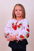 Вышитая блуза для девочки в украинском стиле с красными маками