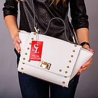 Белая молодежная сумочка с серыми вставками