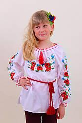 Вишита блуза для дівчинки гладдю з маками,ромашками та васильками