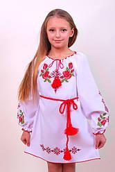 Вишите плаття для дівчинки з унікальним орнаментом на білому габардині
