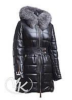 Стеганная кожаная куртка длинная, черная