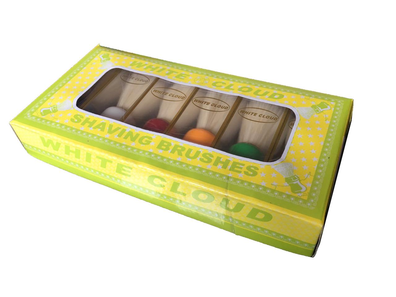 """Помазок для бритья """"WHITE CLOUD"""" с белым ворсом, помазок №6 (упаковка 6 штук)"""