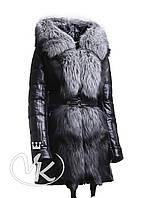 Стеганная кожаная куртка с чернобуркой