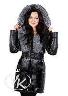 Стеганная кожаная куртка с чернобуркой, фото 1