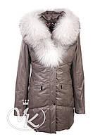 Серая стеганная кожаная куртка, фото 1