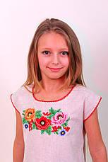 Вишите плаття для дівчинки з квітковим візерунком вишитий гладдю, фото 3