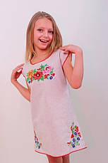 Вишите плаття для дівчинки з квітковим візерунком вишитий гладдю, фото 2