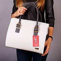 Белая дамская сумка женская серые вставки