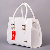 Белая лаковая сумка дамская деловая питон