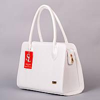 Белая деловая сумка каркасный лаковый питон