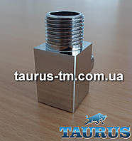 """Дизайнерский квадратный тройник Cube chrome 1/2""""  для полотенцесушителей"""
