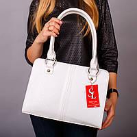 Белая сумка-портфель женская лаковый питон