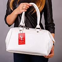 Белая сумка-саквояж женская лаковый питон