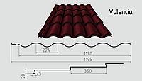 Металлочерепица Valencia (покрытие полиэстер) Металлическая, Рядовая, 0.43ММ, 0.43, 1195.0, RAL3005 (винно-красный)