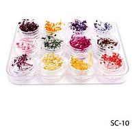 Сухоцветы из мелколепестковых соцветий с блестками Lady Victory LDV SC-10B /03-3