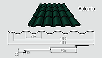 Металлочерепица Valencia  (матовый полиэстер) Металлическая, Рядовая, 0.45ММ, 0.45, 1195.0, RAL6005 (зеленый мох)