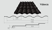 Металлочерепица Valencia  (матовый полиэстер) Металлическая, Рядовая, 0.45ММ, 0.45, 1195.0, RAL8019 (серо-коричневый)