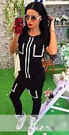 Молодежный женский брючный костюм спортивного кроя с контрастной отделкой рукав короткий двух нить
