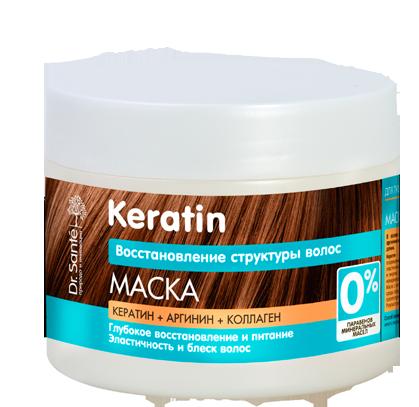 """Маска для тусклых и ломких волос ТМ """" Dr.Sante Keratin"""", 300 мл."""