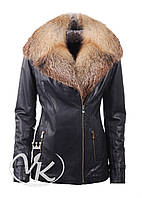 Синяя кожаная куртка с мехом лисы
