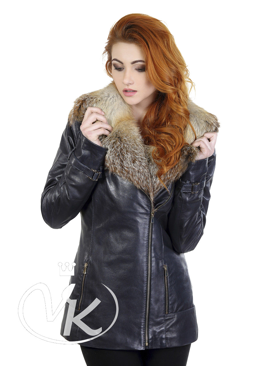 Кожаная куртка с лисой синяя женская на синтепоне 48 размера (Арт. CR282)