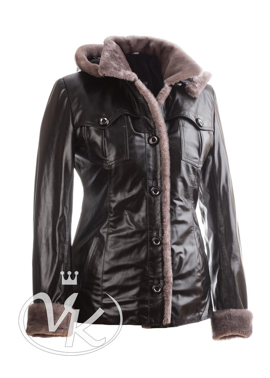 Кожаная куртка с овчиной короткая с капюшоном утепленная (Арт. I202-3)