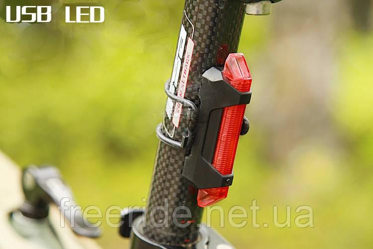 Велогабарит, мигалка RAPID-X 5LED диодов (зарядка от USB) 15 люмен