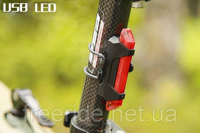 Велогабарит, мигалка RAPID-X 5LED диодов (зарядка от USB) 15 люмен, фото 2