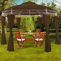 Круглый садовый павильон 3,5м коричневый