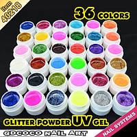 Гель - краски СОСО набор 36 шт глиттерные    по 5 мл