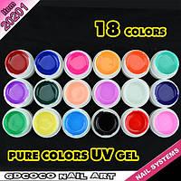 Гель - краски СОСО глянцевые набор 18 шт  по 5 мл