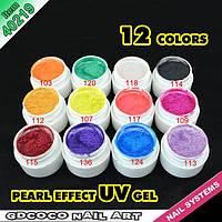 Гель - краски СОСО набор 12 шт перламутровые    по 5 мл