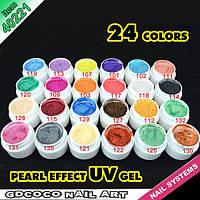 Гель - краски СОСО набор 24 шт перламутровые    по 5 мл